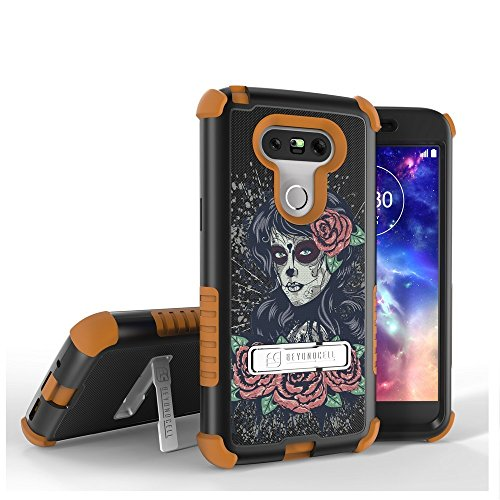 LG G5 Case, G5 Case,Beyond Cell Tri Shield [Dirtproof]High Impact Armor Hybrid Hard+Soft Rugged Case with built in kickstand-FREE Screen Protector-Rose Girl
