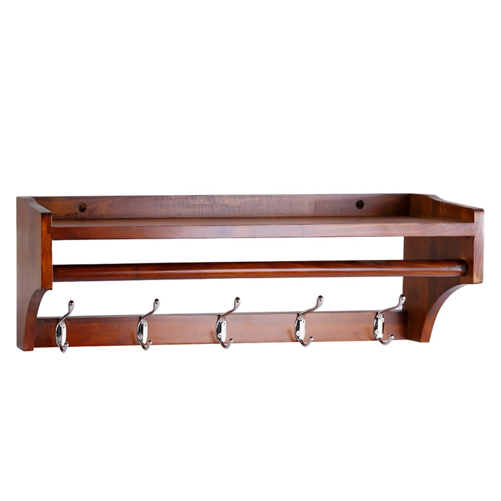Floating Shelves Solid wood coat rack wall mount porch living room wall shelf Industrial wall frame (Color : Brown, Size : 65.51520cm)