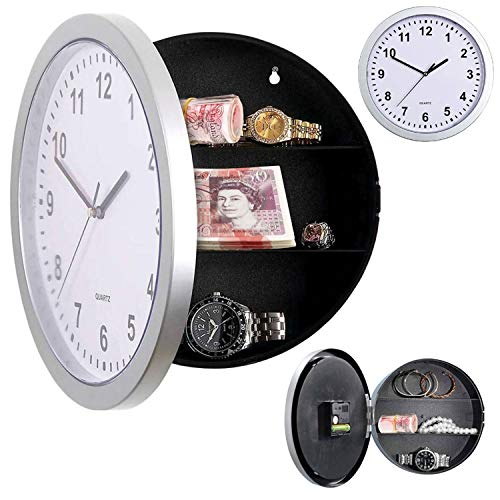Taylor & Brown Silver Wall Clock Safe with Secret Hidden Compartment Money Stash Jewellery