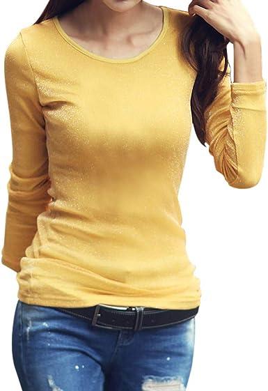 Auifor Las Mujeres de la Moda del Color sólido de Manga Larga Slim Fit Cuello Redondo Brillante Hilo de Seda elástico Que Basa la Camisa Informal: Amazon.es: Ropa y accesorios