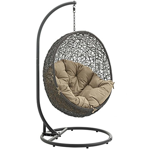LexMod EEI-2273-GRY-MOC Hide Outdoor Patio Swing Chair, Gray Mocha