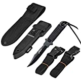 BOffer Scuba Diving Knife Double Edge with Nylon and ABS Sheaths - Black Fixed Blade Tactical Sharp knives with Edge Line Cutter,Sawing Edge,2 Pairs Leg Strap for Divers Dive,Snorkeling