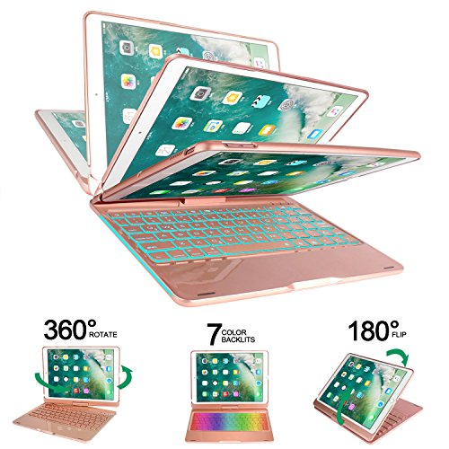 Earto iPad Pro 10.5 Keyboard Case Compatible iPad Pro 10.5(A1701/A1709), 360 Rotatable Wireless Backlit Keyboard Case/Aluminium Alloy Slim Case/Smart Auto Sleep-Wake Case (Rose Gold) by Earto