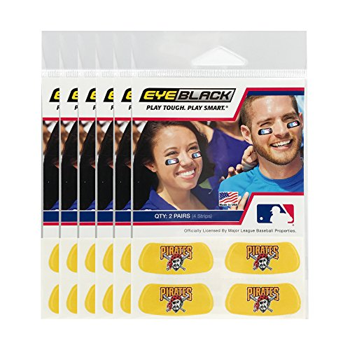 (24 Strips) Pittsburgh Pirates MLB Eye Black Anti Glare Strips, Great for Fans & Athletes on Game Day]()