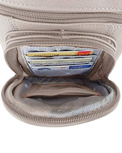 Roma Leathers Genuine Leather Multi-Pocket Crossbody Purse Bag