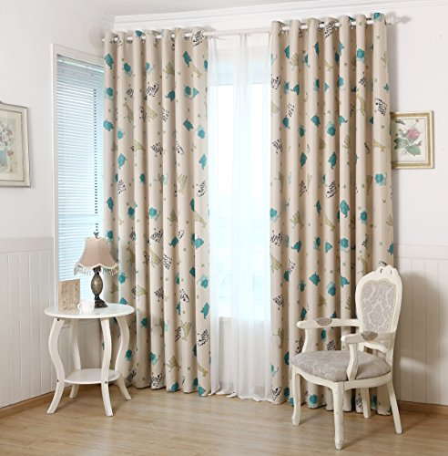GYROHOME Cartoon Children and Kids' Zoo Print Blackout Curtain Grommet Top Thermal Insulated Room Darkening Engery Saving Drape Noise Reducing No Formaldehyde 52