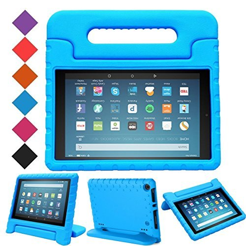 MENZO Case for Amazon All-New Fire HD 8 2018/2017 - Shockproof Convertible Handle Light Weight Protective Stand Cover Kids Case for Fire HD 8 (2017 and 2018 Releases) Tablet, Blue