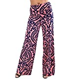 Image of LOSRLY Women Wide Leg High Fold Over Waist Printed Boho Palazzo Pants Plus Size-Pink XXL 20 22