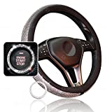 Zone Tech Shiny Bling Car Accessory Set - Premium Quality Crystal Steering Wheel Cover with PU Leather Backing & Crystal Bling Car Accessory for Auto Start Engine Ignition Button Key and Knobs