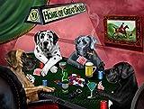 Home of Great Danes 4 Dogs Playing Poker Art Portrait Print Woven Throw Sherpa Plush Fleece Blanket (37x57 Sherpa)
