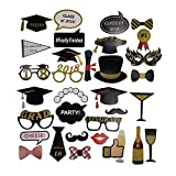 #6: LaZimnInc Photo Booth Props Graduation 2018, Gold Glitter Decorations for Graduation Party Supplies 2018- Pack of 40