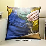 PleayeL Soft Canvas Throw Pillow Covers Cases for Couch Sofa -carpenter makes a hole in old wooden door the mortise lock for by using power drill close up Print 18 x 18(45 x 45 cm)