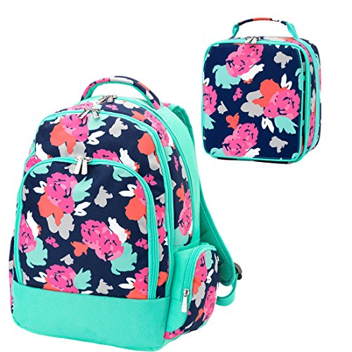 Amelia Floral Aqua 2 Piece Polyester Zippered Backpack & Lunch Box Bag Set