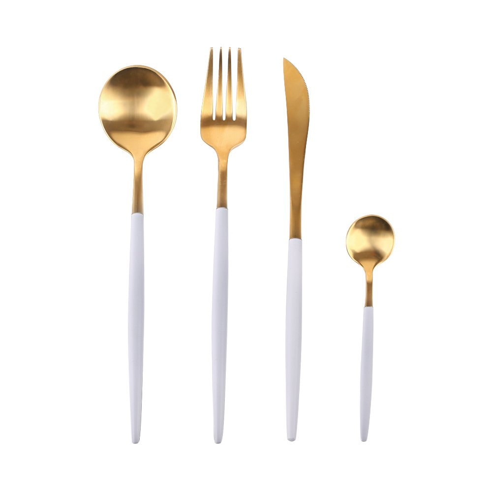 Richday Stainless Steel Flatware Set (White + Gold)