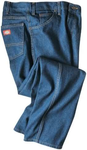 Dickies Occupational Workwear C993RBK Denim Cotton Regular Fit Men's Industrial Jean with Straight Leg, Black