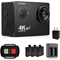 4K Sports Action Camera, AKImart Ultra HD WiFi Waterproof 2 Inch LCD Screen 12MP 170 Degree Wide Angle Camera with 3 Rechargeable 1050mAh Batteries 2.4G Wireless Remote Control