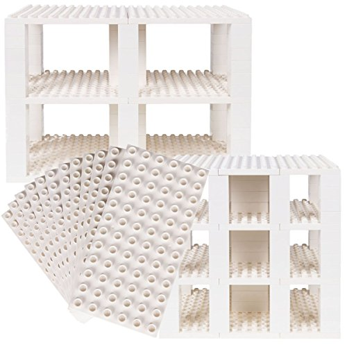 Strictly Briks Classic Big Briks 96 Piece Set 100% Compatible with All Major Brands   Tower Construction   Large Pegs for Toddlers   Ages 3+   Building Bricks & Baseplates   White