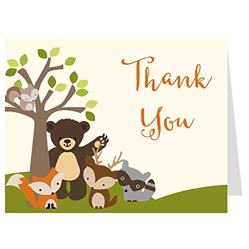 (Woodland Friends Bear Baby Shower Thank You Cards Green Brown Grey Gray Orange Squirrel Fox Deer Raccoon Birthday Party Thanks (50 Count))