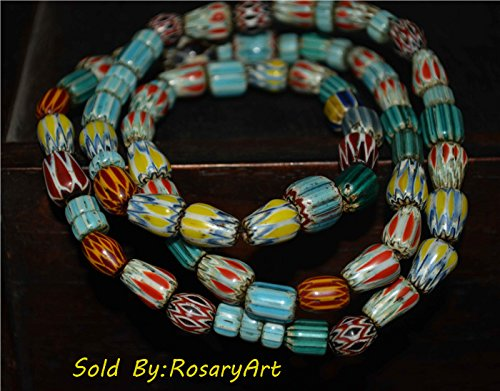 Tibetan Buddhism Old Venetian Trade Glass Chevron Chain Strand of Bead African Africa Liuli Beads Vintage Antique Necklace Pendant Bracelet Genuine Amulet Talisman Authentic Ancient Tibet Nepal Real Buddhist Prayer Beads Rosary Worry Misbaha Tasbih Komboloi Islamic Mala red blue yellow green color Noble Collection (Strand Venetian Necklace)