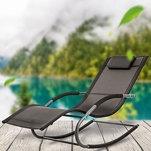 LUCKUP Outdoor Recliner Pool Chaise Patio Rocking Wave Lounger Chair Pillow Garden,Poolside,Backyard,Black