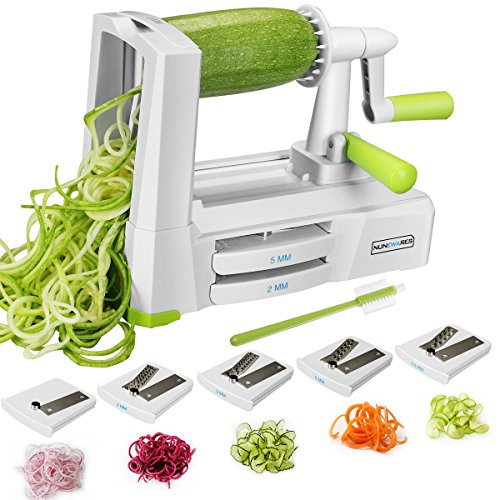 5-Blade Spiralizer Vegetable Spiral Slicer, Noodle Maker, Fruits and Veggies Slicer for Low Carb/Paleo/Gluten-Free Meals with Labeled Blades and Storage Box, Cleaning Brush (Free Recipe (Noodle Brush)