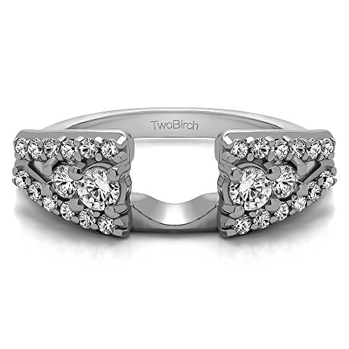 Diamond Anniversary Ring Wrap in 10K White Gold G-H I2(0.44Ct) Size 3 To 15 in 1/4 Size Interval