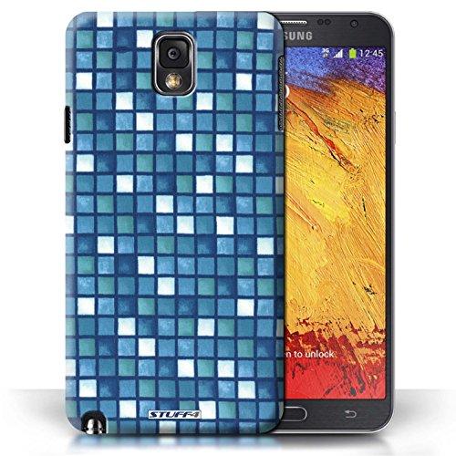 Etui / Coque pour Samsung Galaxy Note 3 / Bleu/Blanc conception / Collection de Carreau Bain