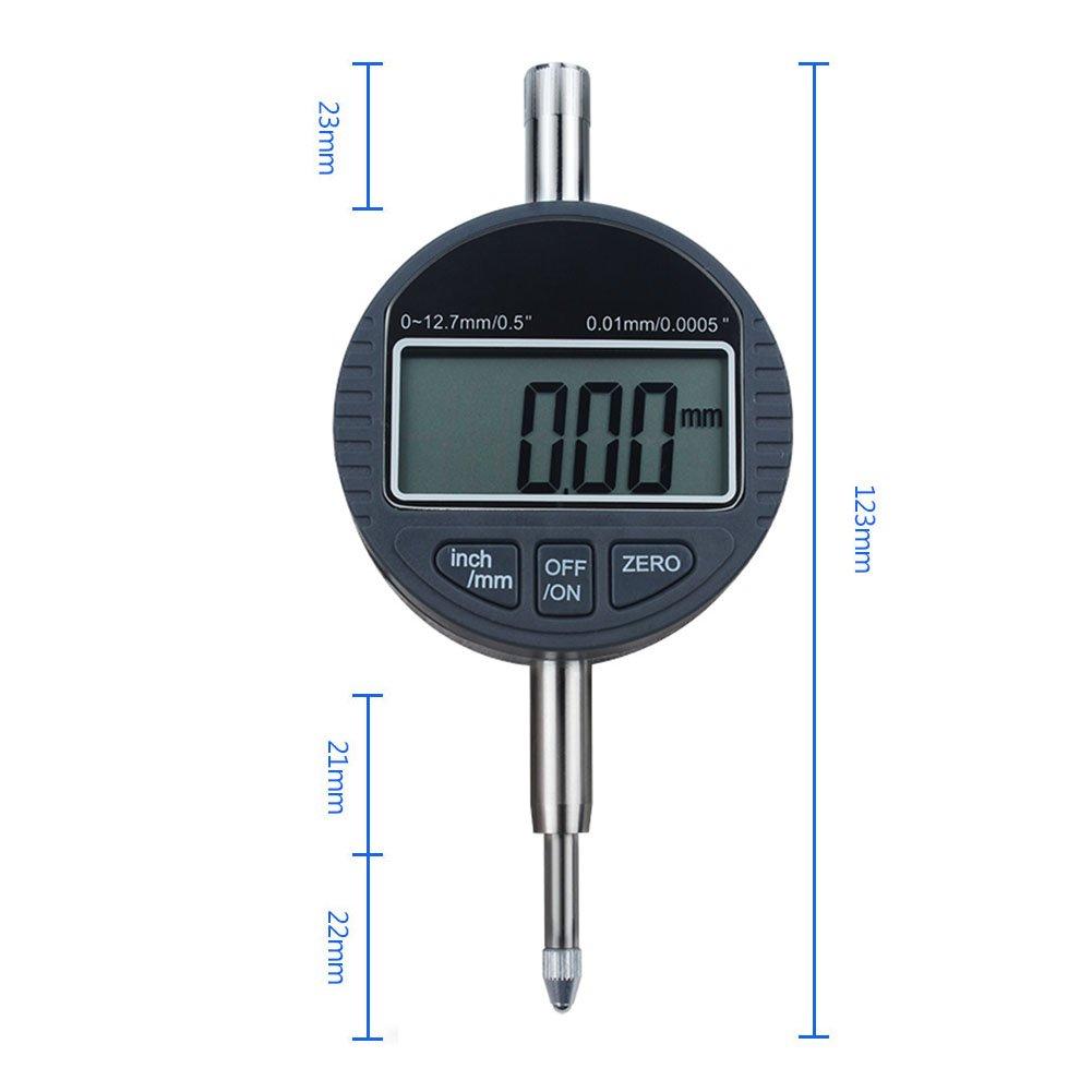 favourall Digital Calibre Onde (Medición Reloj comparador analógico (Rango de medición 0 - 12,7 mm Reloj comparador de pantalla electrónica pantalla ...