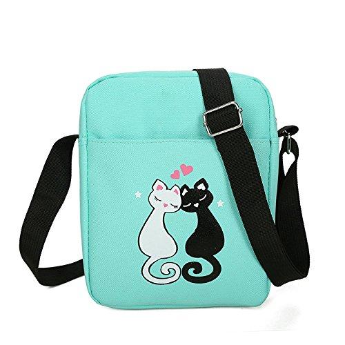Espeedy Mochila de la escuela,4 piezas adolescentes cute gato imprimir mochila conjunto bolso unisex mochila escuela bolsos de bandolera estuche negro