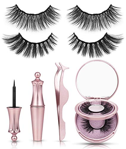 DYSILK 2 Pairs 3D Magnetic Eyelashes and Magnetic Eyeliner Kit 2 Styles Fluffy Natural False Eyelashes Double-deck Fake Lashes with Tweezers No Glue Reusable Full Set Eyelashes