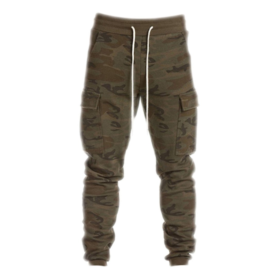 Men Camouflage Tactical Casual Sweatpants Big Pockets Army Green XL