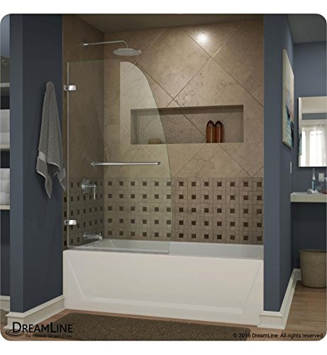 DreamLine Aqua Uno 34 in. Width, Frameless Hinged Tub Door, 1/4'' Glass, Brushed Nickel Finish