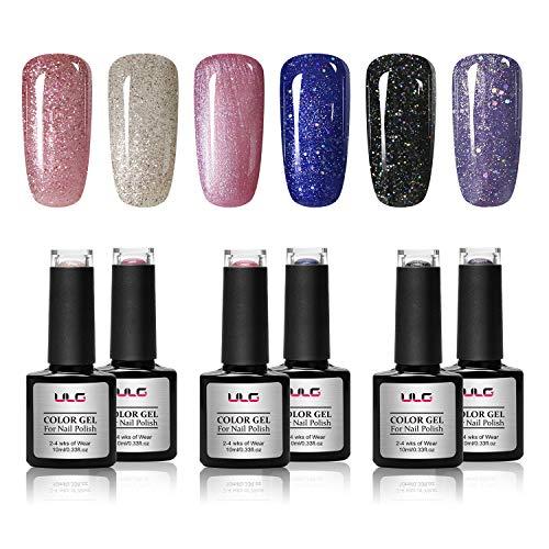Glitter Gel Nail Polish Set ULG 10ml 6 Colors Soak Off UV LED Gel Polish Sparkle Varnish Black Purple Blue Pink Long Lasting Shimmer for Home Salon Manicure Nail Art