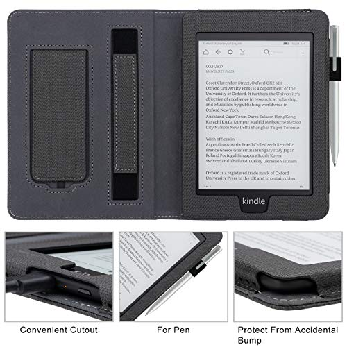 WALNEW Stand Case Fits Kindle Paperwhite 10th Generation 2018 PU Leather Case Smart Protective Cover with Hand Strap (Black)