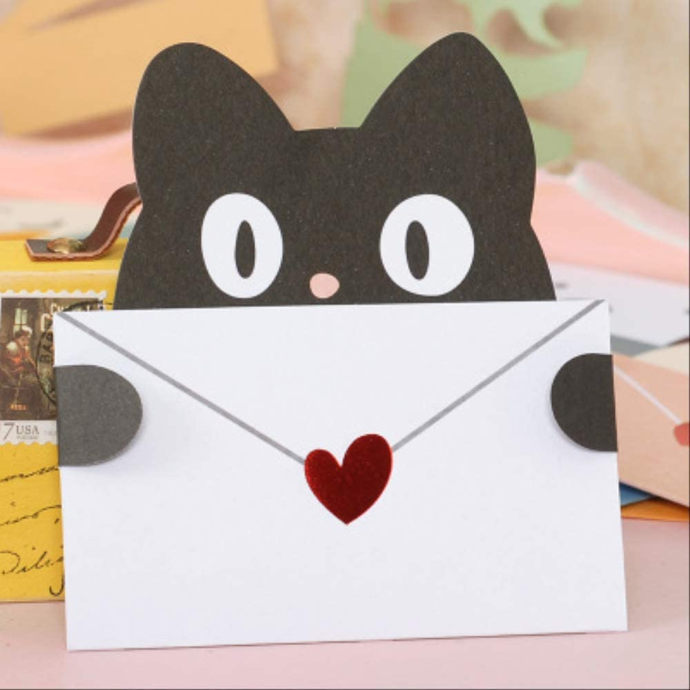 Tarjeta Regalo BLTLYX Lindo Animal Tarjetas De Mensaje Mini Tarjetas De Sobre Gracias Papelería Niños Tarjetas De Felicitación 10.7 * 11.5cm Como se muestra