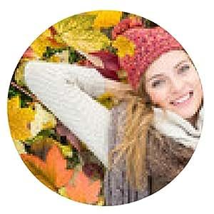 alfombrilla de ratón Mujer en otoño - ronda - 20cm