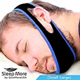 Sleep Apnea Snoring, Stop Snoring Mouthpiece Chin Strap. Adjustable, Anti-Snore Solution Jaw Strap (Small - Large) Sleep More & Snore Less