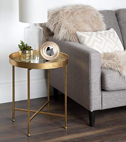 Kate and Laurel 214610 Celia Round Metal Side Table, 18.25x18.25x22, Gold