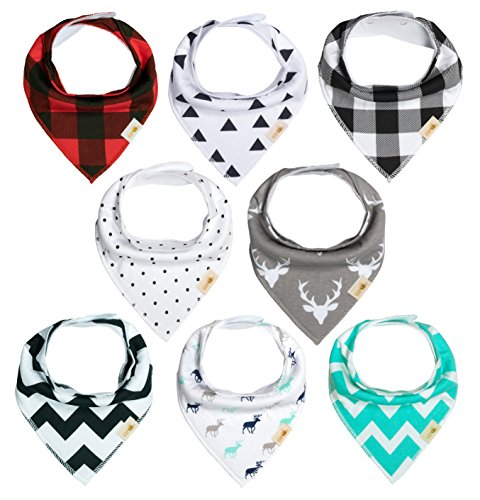 Baby Bib bandna, 8-Pack Drool Bibs for Boys and Girls, unisex,