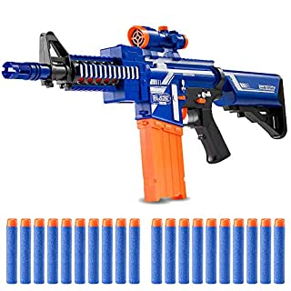 Zetz Brands Semi-Automatic Toy Sniper Rifle with 20 Darts, Load Cartridge & Sight Attachment - Long Range Blaster Weapon - Blue & Orange