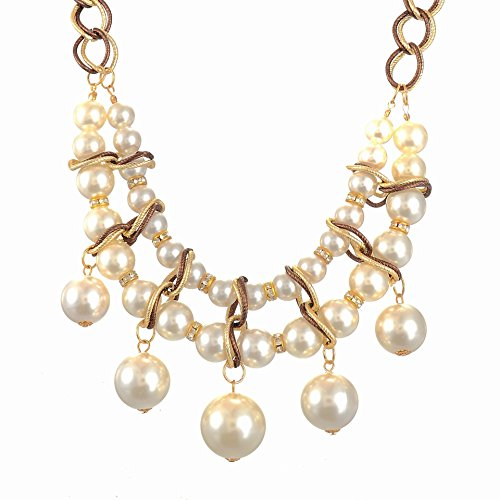 Superhai Double Ball Diamond Pearl Necklace Exaggerated (Blue Peter Halloween Decorations)