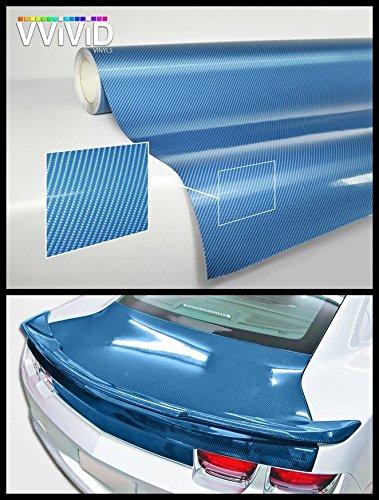 VViViD Blue Carbon Gloss Tech Art 5ft x 60in 3 Layer 3D (not Printed) Realistic True Carbon Fiber Look cast Vinyl wrap for car, Boat, Bike XPO