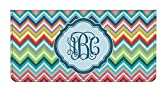 Retro Chevron Monogram Genuine Leather Checkbook Cover (Personalized)