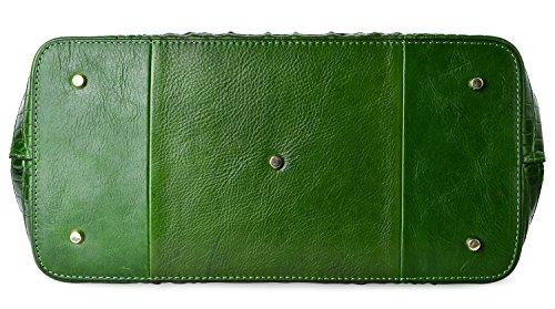 PIFUREN Women's Crocodile Embossed Handbags Genuine Leather Top Handle Purses E72110(Big Size, Green) by PIFUREN (Image #4)