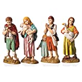 Holyart Children with animals, 4 nativity figurines, 12cm Moranduzzo