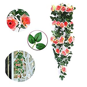 "Greentime Fake Flowers 40"" 19 Heads Artificial Rose Garland Wall Hanging Silk Flowers Rattan Ivy Vine for Wedding Party Garden Decoration 75"