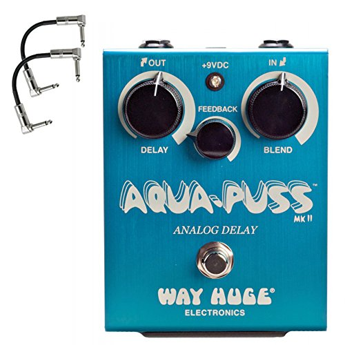 Dunlop WHE701 Way Huge Electronics Aqua-Puss Analog Delay Guitar Effect Pedal WHE701 with 2 patch cables by Jim Dunlop