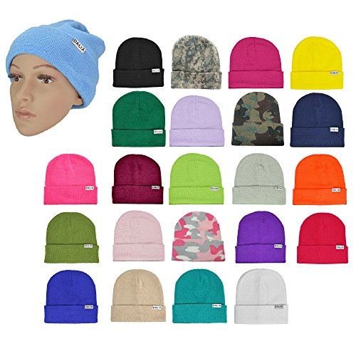 DALIX Cuff Beanie Cap 12 Royal Red Black Navy Blue Orange Lime Green White Canary Yellow Pink Camo