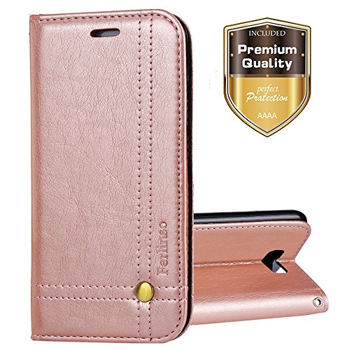 Galaxy S8 Active Case, Ferlinso Elegant Retro Leather with ID Credit Card Slot Holder Flip Cover Stand Magnetic Closure Case for Samsung Galaxy S8 Active-Rose Gold (Retro Id Credit Card)
