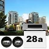 Solar Powered 4 LED House Address Number Lamp, Vingtank Stainless Steel Doorplate Light Outdoor Wall Plaque Light Lamp